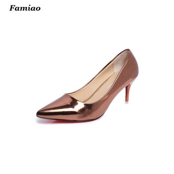 2017 spring summer womens shoes patent leather high heels pumps fashion gold silver woman ladies shoes