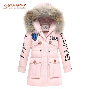 Dosoma Girls Winter Jacket Snowsuit Children's Duck Down Coats Boys Outerwear Faux Fur Collar Hooded Baby Parka Kids Clothes