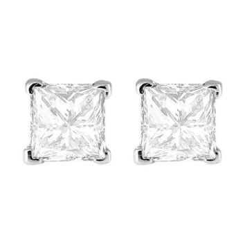 18k White Gold Princess White Crystal Diamond Stud Earrings