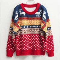 Round Neck Oversized Christmas Sweater