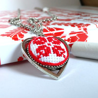 Ukrainian embroidered JEWELRY STORE. Ethnic textile heart necklace. Red flower cross stitch. Free shipping worldwide! P14.