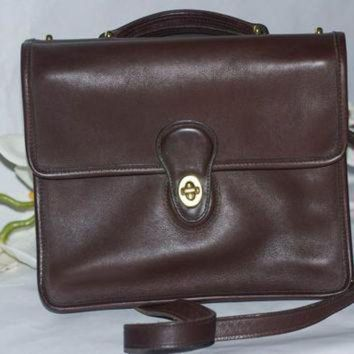 Vintage 90s Coach Soft Leather Willis Crossbody Messenger Bag In Chocolate Brown - Beauty Ticks