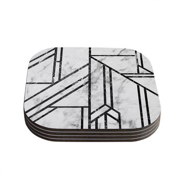 "KESS Original ""Black Marble Mosaic"" Geometric Modern Coasters (Set of 4)"