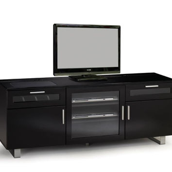 Coaster Fine Furniture Black High Gloss Tv Console Black 700672