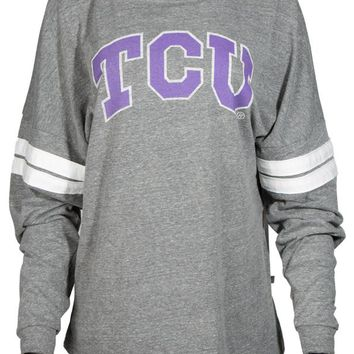 Official NCAA Texas Christian University Horned Frogs TCU Horned Frog FROGS FIGHT! Women's Long Sleeve Tri- Blend Football Tee