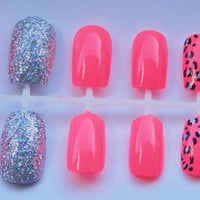 Neon Coral and Silver Glitter Cheetah or Leopard Fake Nails - False, Artificial, Acrylic, Press-On