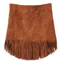Khaki High Waist Fringed Suede Mini Pencil Skirt