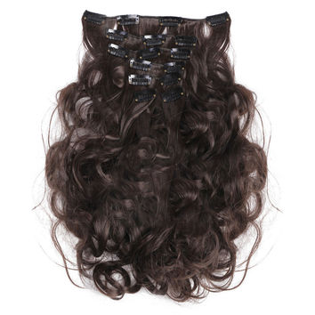 7pcs Suit Clips in Hair Extension Curled Wig Piece   4B