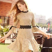 Seven Quarter Flare Sleeves Lace Dress Korean Fishtail Skirt 902008