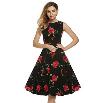 Floral Swing Summer Dress in Black with Red Roses