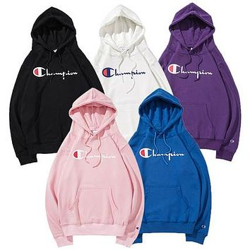 Champion classic print logo hooded men's and women's sports jacket F-CP-ZDL-YXC