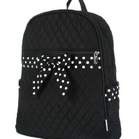 Belvah Large Quilted Backpack with Polka Dots Ribbon (Black/White)