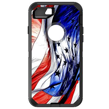 DistinctInk™ OtterBox Defender Series Case for Apple iPhone / Samsung Galaxy / Google Pixel - Red White Blue United States Flag Waving