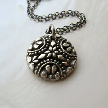 Silver button mold necklace, silver floral medallion necklace, ornate silver pendant, oxidized handmade necklace