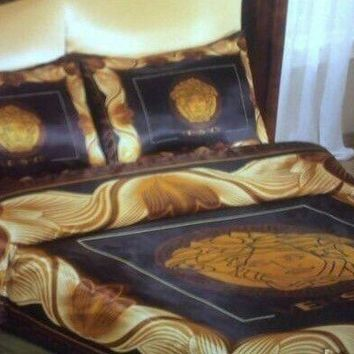 Queen size New 6pcs brown/black/gold color versace bedding set bed cover