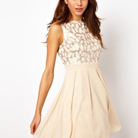 Little Mistress | Little Mistress Foil Lace Baby Doll Prom Dress at ASOS