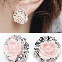 A 090632 Roses circle diamond earrings over drilling