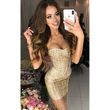 2018 new fashion ladies gold mesh strapless evening party bandage dress