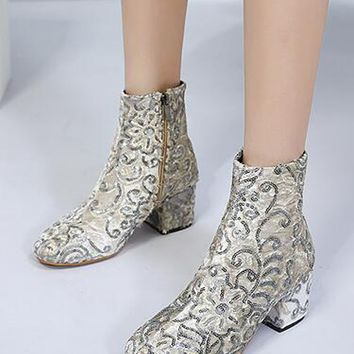 White Embroidery Detail Heeled Ankle Boots