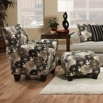 Chelsea Home Daisy Floral Accent Chair & Ottoman in Springfever Stone