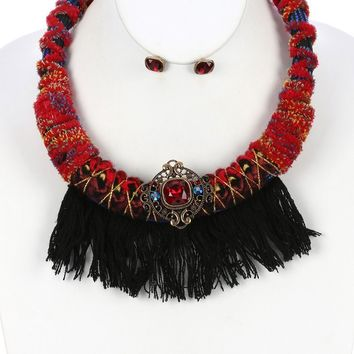 Faceted Glass Stone Braided Fabric Cord Bib Necklace Set