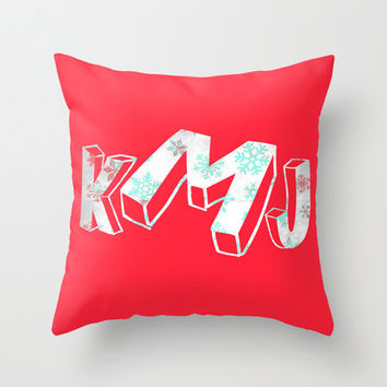 "Christmas Monogram Personalized Custom Pillow Cover ""Ilex"" 16x16 Snowflakes Couch Winter Decor Initial Name Letter Red Garnet Aqua Gift Blue"