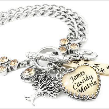 Mothers Bracelet - Childrens Name Jewelry - Mom Charm Bracelet - Nana Bracelet - Grandmother Jewelry - Mimi Bracelet - Silver and Gold