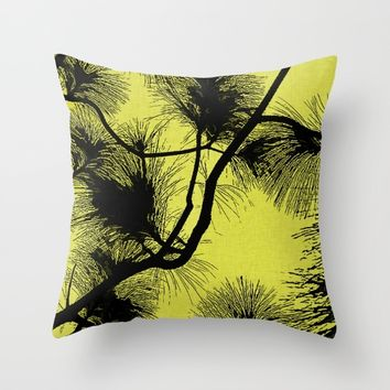 Desert flora, black on yellow pattern, flowers in night light on canvas background Throw Pillow by Peter Reiss