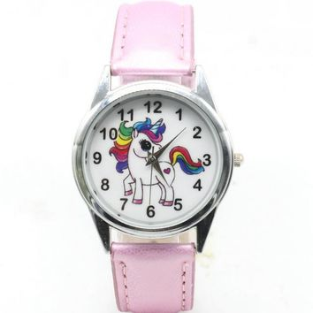 Womens Cartoon Wrist Watches Ladies Girls Clock Cute Animal Unicorn Dial Leather Band Analog Alloy Quartz Wrist Watches