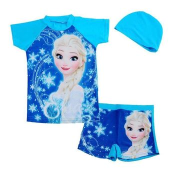 DCCKL6D Retail blue anna elsa sister rash guard kids short sleeve swimsuit for girls sun protection anti-uv swimwear Surfing clothes