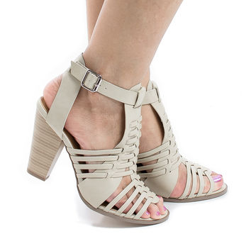 Aliya Beige Pu By Aquapillar, Open Toe Huarache Woven Chunky Stacked Heel Sandals