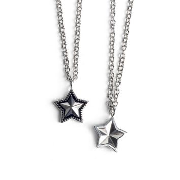 Fashion Personality Unisex Retro Five-pointed Stars Pendant Couple Necklace Accessories