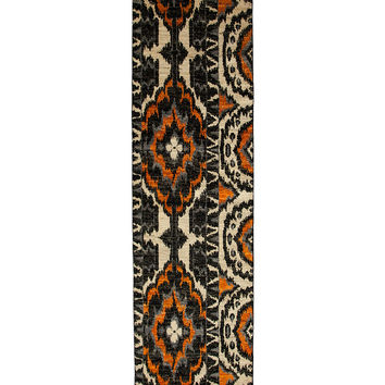 Solo Rugs Ikat Oriental Hand-Knotted Runner - Black