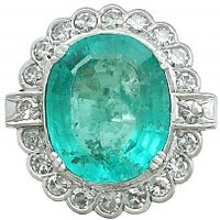 8.19 ct Emerald and 1.48 ct Diamond 18 ct White Gold Dress Ring - Vintage French Circa 1950