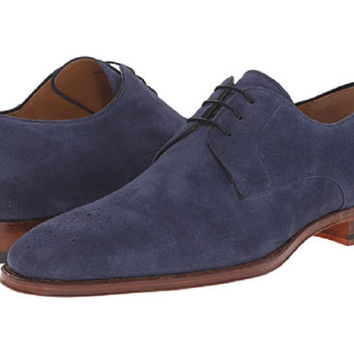 Magnanni Navy Suede Medallion Toe Men's Oxfords