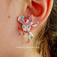 Sylveon Pokemon Clinging earrings Handmade kawaii gamer two part front and back post earrings
