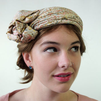 1960's Champagne and Pastels Satin Brocade Turban Style Hat Formal Bridal