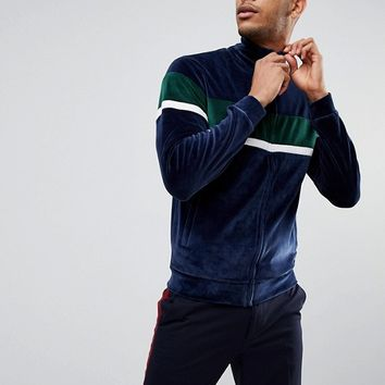 Bellfield Panelled Track Top In Velour at asos.com