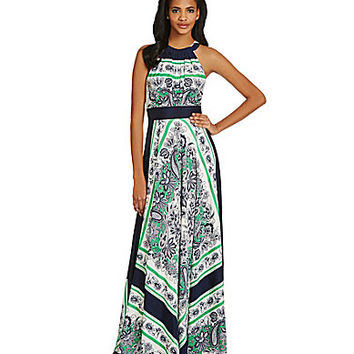 Eliza J Scarf-Print Halter Maxi Dress - Green