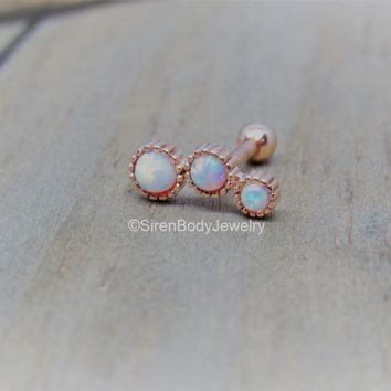 """Opal helix cluster 16g white opals trio rose gold ball back earring 5/16"""" conch stud"""