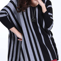 Grey and Black Striped Oversized Batwing Jumper