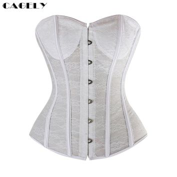 Lace Corset Sexy Bustier Wedding Corselet Summer Underwear Clothing Black White Lingerie G-string Slimming Party Outfits XS-2XL