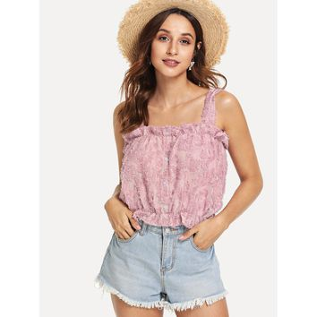 Embroidered Fluffy Fuzzy Crop Top Pink
