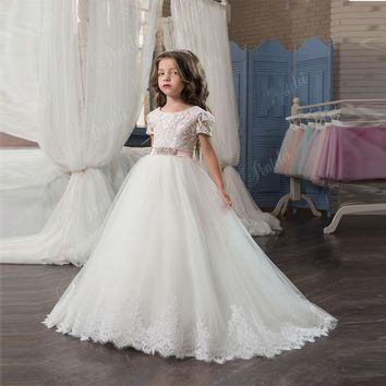 Custom Made Elegant Flower Girl Dress Flower Girl Gown | Lace Appliques With Sash Short Sleeve Ball Gown Girl's Pageant Gowns