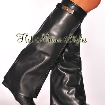 Black Fold Over Point Toe High Heel Boots