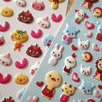 Kawaii lion rabbit sticker Cute Pet farm animal puffy sticker Forest Garden zoo park little cat yellow chicken  scrapbook scrapbooking diary