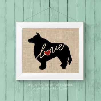 Sheltie (Shetland Sheepdog) Love - Burlap or Canvas / Wall Art Print for Dog Lovers: Great Gift / Personalized (Free Shipping)