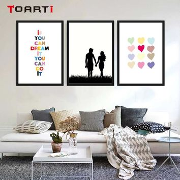 Couple Canvas Painting Prints And Posters Nordic Colourful heart love Quote Art Minimalist Wall Art Picture Home Room Decoration