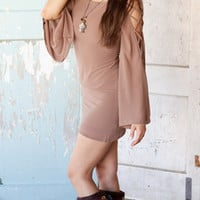 Mocha Dress with Cut Out Bell Sleeve :: Women's Apparel