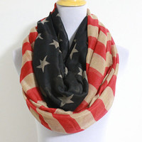 Vintage Inspired American Flag Infinity Scarf